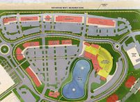 The site plan for retail, restaurants and the amphitheater at CrossPlex Village. (Davis Architects)