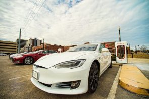 Tesla charging stations at Birmingham's Uptown allows electric vehicle drivers to recharge. (Phil Free / Alabama NewsCenter)