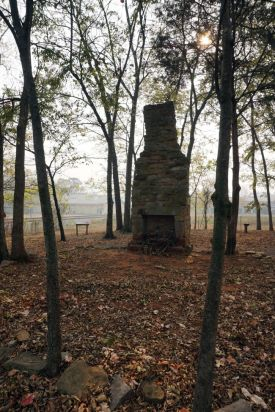 Fort Payne cabin site. The chimney and cabin foundation are still visible today. (Erin Harney/Alabama NewsCenter)
