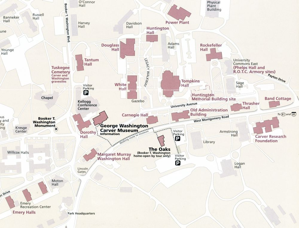 tuskegee university campus map Tuskegee Institute Map Alabama Newscenter tuskegee university campus map