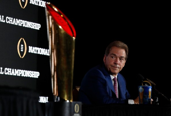 Alabama head coach Nick Saban at the joint press conference Sunday. (UA Athletics)