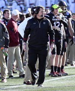 South Carolina head coach Will Muschamp walks the sidelines at Legion Field for the Birmingham Bowl. (Allen Sharpe/USC)