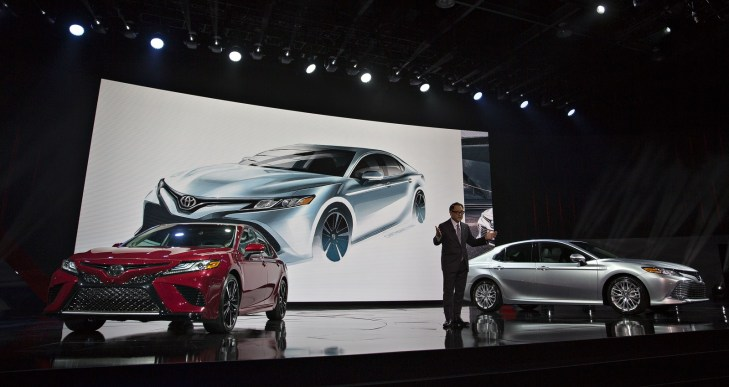 Akio Toyoda, president of Toyota Motor Corp., speaks during the 2017 North American International Auto Show in Detroit. (Andrew Harrer/Bloomberg)