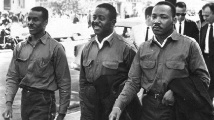 The Revs. Fred Shuttlesworth, Ralph Abernathy and Martin Luther King Jr. take part in a civil rights demonstration in Birmingham on Good Friday 1963.