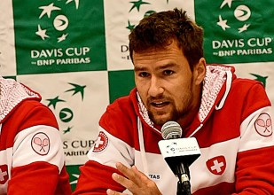 Marco Chiudinelli makes a point during the Switzerland Davis Cup Team press conference in Birmingham. (Solomon Crenshaw Jr. / Alabama NewsCenter)