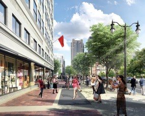 A rendering shows a sidewalk view outside the restored Pizitz Building. (Contributed)
