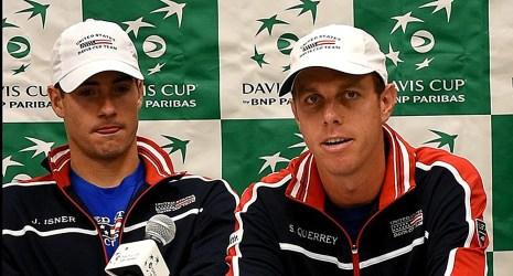 US Davis Cup Team members John Isner, left, and Sam Querrey at Tuesday's press conference in Birmingham. (Solomon Crenshaw Jr. / Alabama NewsCenter)