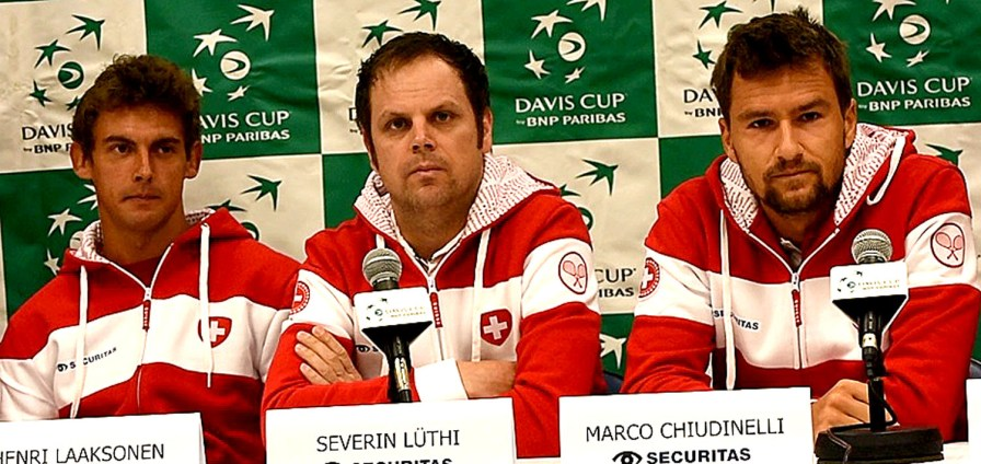 Swiss Davis Cup Team Captain Severin Lthi, center, is flanked by team members Henri Laaksonen, left, and Marco Chiudinelli. (Solomon Crenshaw Jr. / Alabama NewsCenter)
