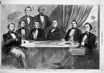 Group portrait of the Confederate cabinet including President Jefferson Davis, Vice President Alexander Hamilton Stephens, Attorney General Judah P. Benjamin, Secretary of the Navy Stephen M. Mallory, Secretary of the Treasury C.S. Memminger, Secretary of War Leroy Pope Walker, Postmaster John H. Reagan, and Secretary of State Robert Toombs, seated and standing around table. 1861. (Library of Congress Prints and Photographs Division)