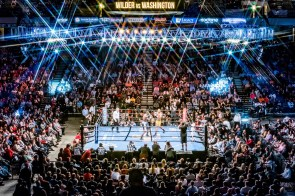 Deontay Wilder defended his WBC heavyweight championship against challenger Gerald Washington in a fifth-round knockout in front of a record crowd in Birmingham. (Nik Layman / Alabama NewsCenter)