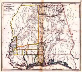 The state of Mississippi and Alabama territory from an 1818 map, just one year before Alabama became a state. (Courtesy of the Southern History Department at the Birmingham Public Library)