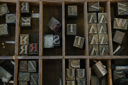 An old-school letterbox at After Press in Homewood. (Mark Sandlin/Alabama NewsCenter)
