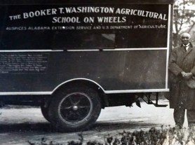 Photograph of the Moveable School, designed by Washington and Carver is on display at the George Washington Carver Museum. (Erin Harney)