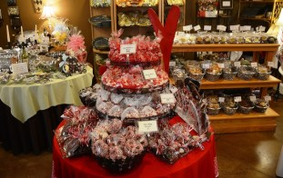 A tower of goodies. The staff at Morgan Price Candy Company puts a lot of effort into presentation. (Karim Shamsi-Basha/Alabama NewsCenter)