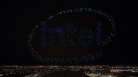 Intel Shooting Star drones light up the sky in the Pepsi logo as part of the Pepsi Zero Sugar Super Bowl LI Halftime Show. (Intel Corporation)