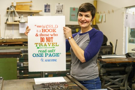 Rachel Lackey of Green Pea Press loves using old equipment to create new designs. (Mark Sandlin / Alabama NewsCenter