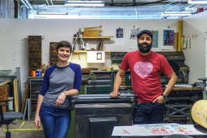 Rachel Lackey and Martin Blanco of Green Pea Press love using old equipment to create new designs. (Mark Sandlin / Alabama NewsCenter