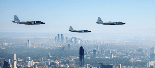 Three AIRS-equipped NASA WB-57 aircraft fly over Houston. (Southern Research)