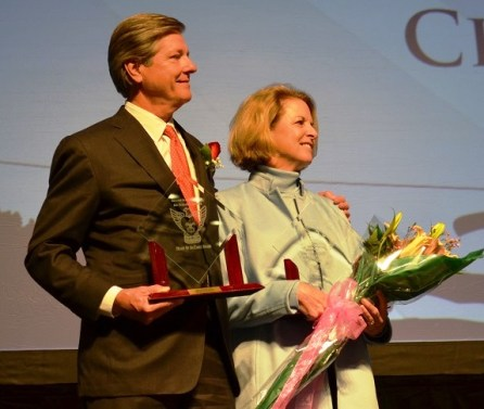"""Claude and Kate Nielsen received the """"Heart of an Eagle"""" award. (Michael Tomberlin / Alabama NewsCenter)"""