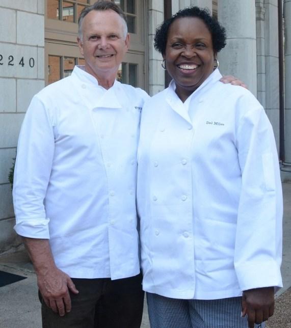 Highlands Bar and Grill owner Frank Stitt with Dolester Miles, the Birmingham restaurant's pastry chef. Both the restaurant and Miles won prestigious James Beard Awards in 2018. (Karim Shamsi-Basha/Alabama NewsCenter)