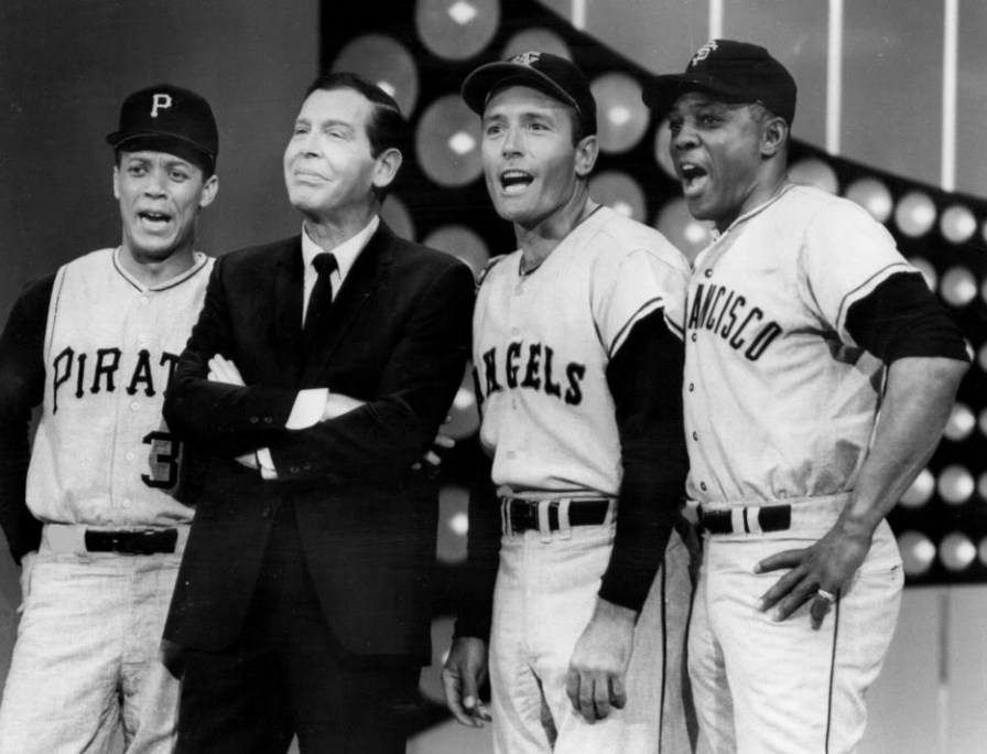 Photo of Maury Wills, Milton Berle, Jimmy Piersall and Willie Mays in a salute to baseball on the television program The Hollywood Palace, 1967. (ABC Television, Wikimedia)