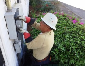 Keeping your meter clear of shrubbery and debris is an important safety concern for workers, who need about 10 feet clearance in case a problem requires them to clear the space quickly. (Linda Brannon/Alabama NewsCenter)