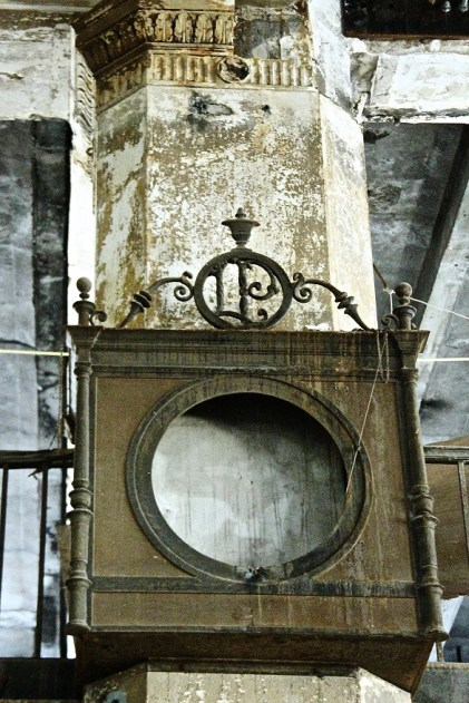 The clock as it looked when it was discovered during the renovation. (Virginia Jones)