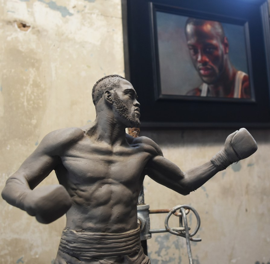 Deontay Wilder is depicted in this minature statue as he is about to deliver the knockout blow in his most recent bout against Gerald Washington. (Solomon Crenshaw Jr./Alabama NewsCenter)