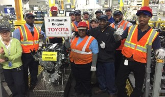 Employees at Toyota Motor Manufacturing Alabama in Huntsville celebrate the 5 millionth engine produced at the plant. (Toyota)