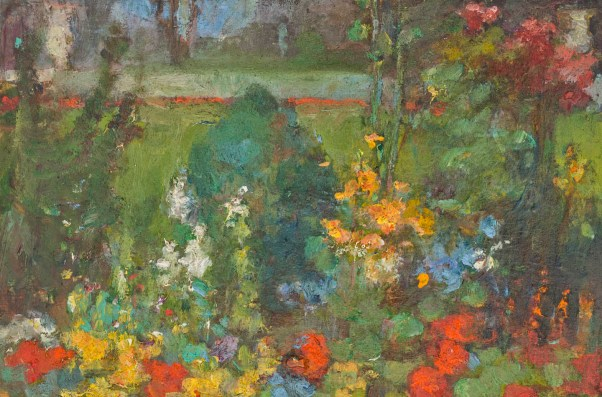 The Flower Garden by Clara Weaver Parrish, oil on wood panel, 4.6 x 7.1 inches. (Johnson Collection, Spartanburg, South Carolina, Wikimedia)