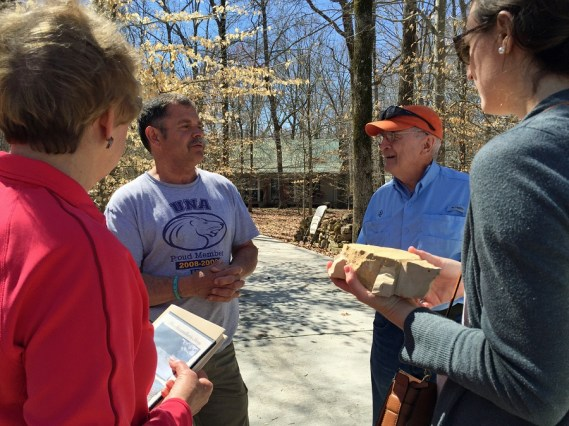 Trace Hendrix tells Tom's story and Te-lah-nay's story and visits with guests. (Anne Kristoff / Alabama NewsCenter)
