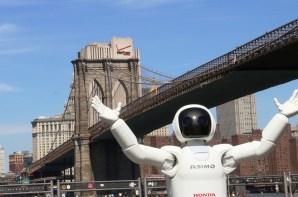 ASIMO at the Brooklyn Bridge in New York. (Honda)