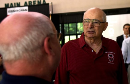 Art Clarkson talks with a local hockey enthusiast after announcing the return of professional hockey to metro Birmingham in the fall of 2017. (Solomon Crenshaw Jr. / Alabama NewsCenter)