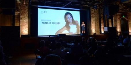 Britney Summerville introduces Glow founder Yasmin Cavale. (Michael Tomberlin / Alabama NewsCenter)