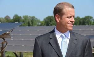 Jim Heilbron, senior vice president and senior production officer at Alabama Power, looks over the new solar project at Fort Rucker. (Karim Shamsi-Basha/Alabama NewsCenter)