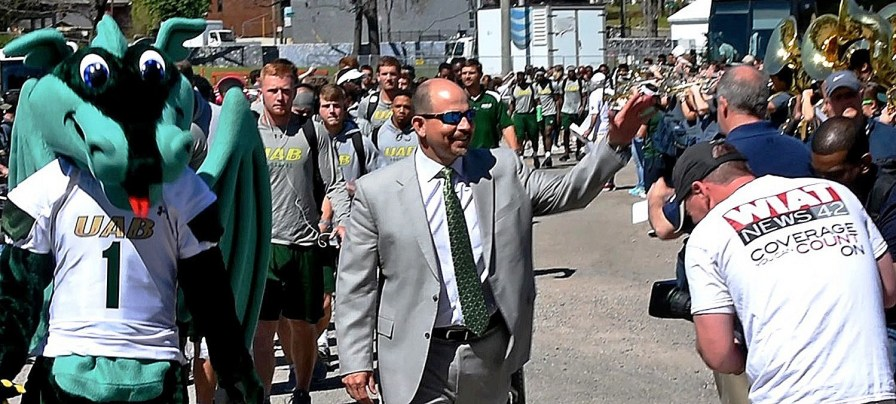 The Blazer Walk fires up players, coaches and fans before UAB's spring football scrimmage on Saturday at Legion Field. (Solomon Crenshaw Jr.\Alabama NewsCenter)