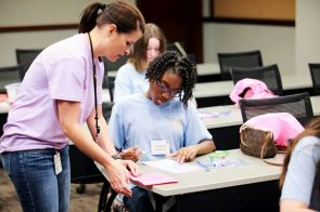 Students particpate in various exercises as part of the iCan conference. (Breanna Fogg / Alabama NewsCenter)