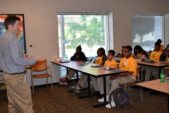 Clary told students that good jobs await in engineering. (Donna Cope/Alabama NewsCenter)