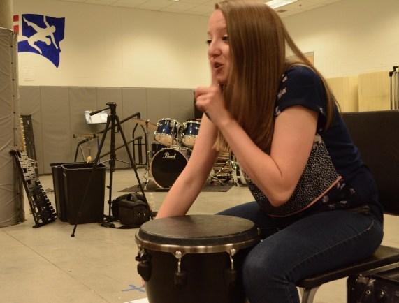 Lauren Nowak loves her work with Homewood Middle's Synergy drum circle, and it shows. (Karim Shamsi-Basha/Alabama NewsCenter)