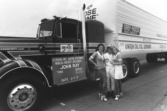 Racecars didn't account for all of the records set at Talladega. In 1975, Johnny Ray set a world record on a closed-course for a semi tractor-trailer at 92.083 mph. (Getty Images)