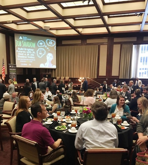Junior Achievement of Alabama officials, Business Plan Challenge finalists and supporters attend the JA's Spirit of Free Enterprise luncheon on Thursday. (Alabama NewsCenter)