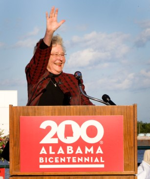 Gov. Kay Ivey waves at the crowd at the Alabama Bicentennial kickoff in Mobile. (Keith Necaise)