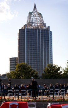 Downtown Mobile offered a backdrop for the kickoff. (Keith Necaise)