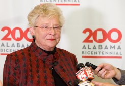 Gov. Kay Ivey speaks to the media at the Alabama Bicentennial kickoff in Mobile. (Keth Necaise)