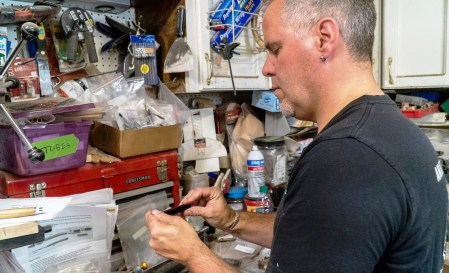 Joel Lockridge makes pens from all sorts of woods, from former bourbon barrels to bog wood from England. (Mark Sandlin/Alabama NewsCenter)