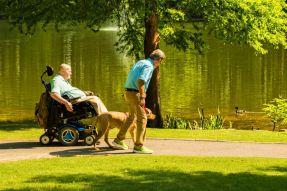 The duo walk at the Aldridge Gardens lake. (Phil Free/Alabama NewsCenter)