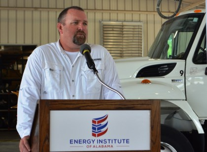 Alabama Rural Electric Association of Cooperatives Safety Specialist Eric Turner, a former lineman, speaks at Alabama Lineman Appreciation Day. (contributed)