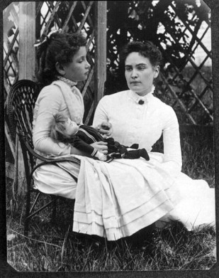 Photograph of Helen Keller at age 8 with her tutor Anne Sullivan on vacation in Brewster, Cape Cod, Massachusetts. (New England Historic Genealogical Society, Wikipedia)