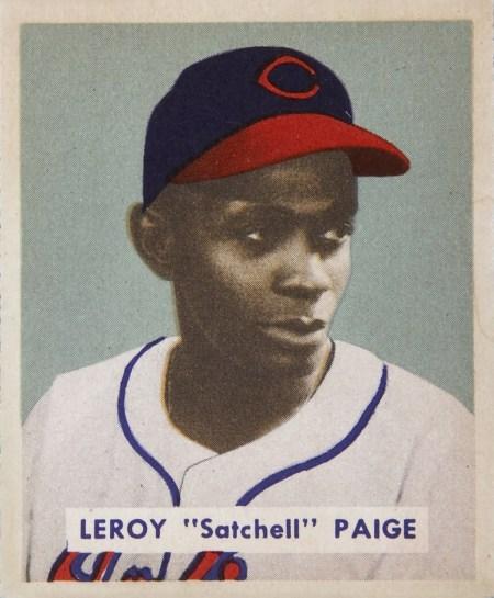 """Cleveland Indians pitcher Leroy """"Satchel"""" Paige, 1949. (Bowman Gum, Wikipedia)"""