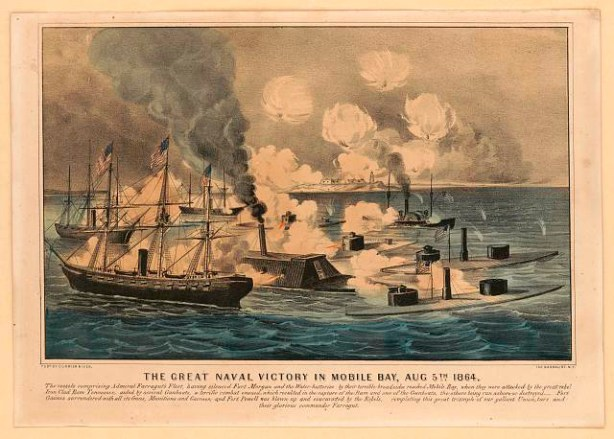 """""""Great naval victory in Mobile Bay, Aug. 5th 1864."""" (Currier & Ives, Library of Congress Prints and Photographs Division)"""